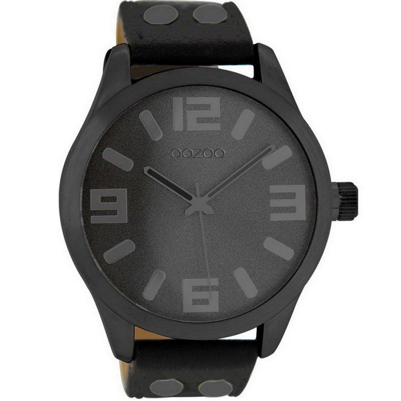 Ρολόι OOZOO Timepieces XXL Black Leather Strap - C8460