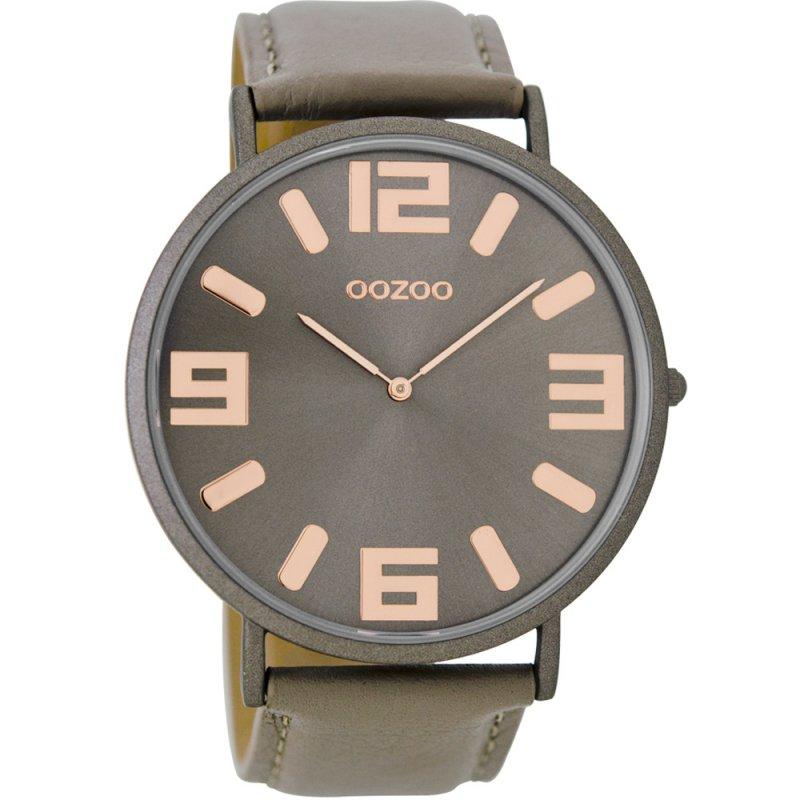 Ρολόι OOZOO XXL Vintage Taupe Leather Strap - C8852