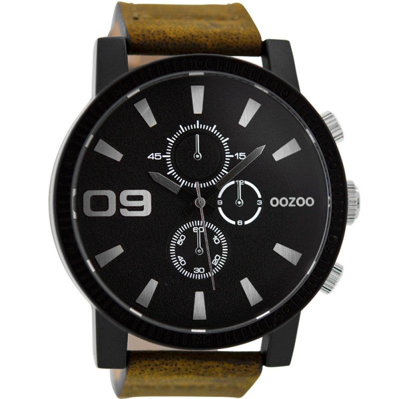 Ρολόι OOZOO XXL Brown Leather Strap - C9033