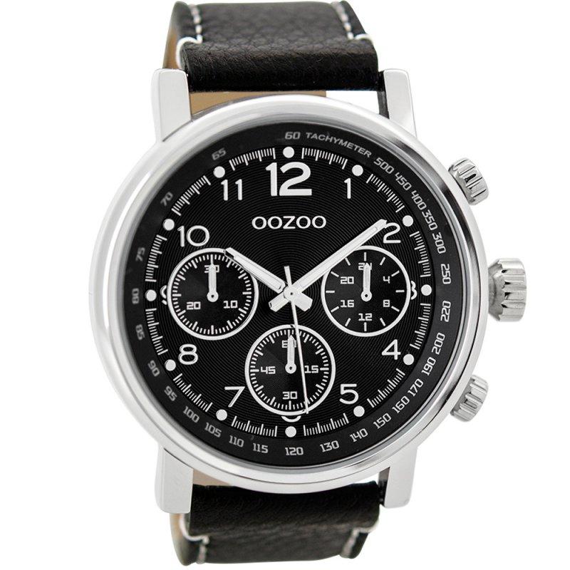 Ρολόι OOZOO Black Leather Strap - C9459