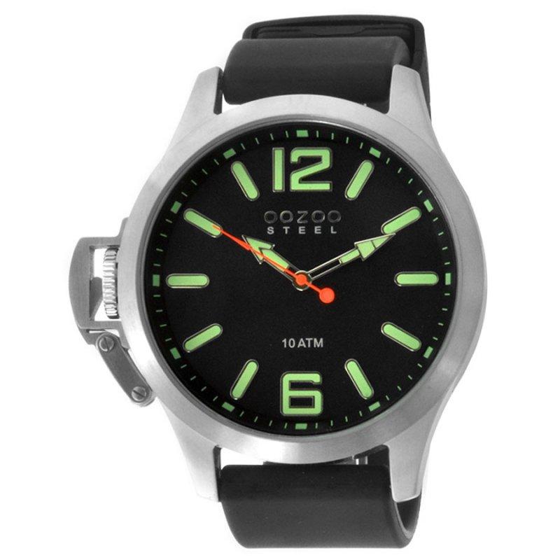 Unisex Ρολόι Oozoo Steel XL Black Rubber Strap - OS401