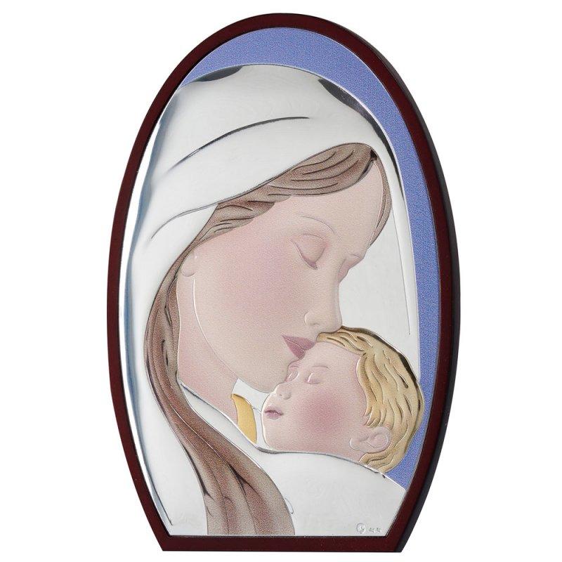 Εικόνα Μοντέρνα Παναγία-Χριστός Καφέ Πλάτη Ασήμι 25x33 - MA-E902-1B-25X33