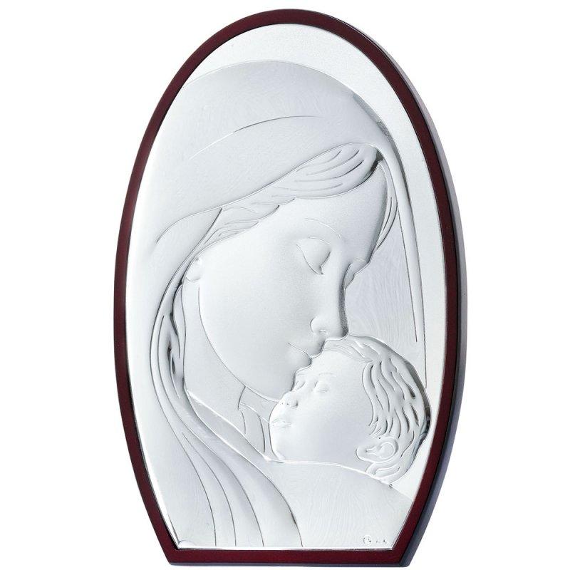 Εικόνα Μοντέρνα Παναγία-Χριστός Ασήμι Μπεζ Πλάτη 15x21 - MA-E902-3WH-15X21
