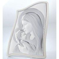 Εικόνα Μοντέρνα Παναγία-Χριστός Λευκή Πλάτη Ασήμι 19x33 - MA-E903-2WH-20X28