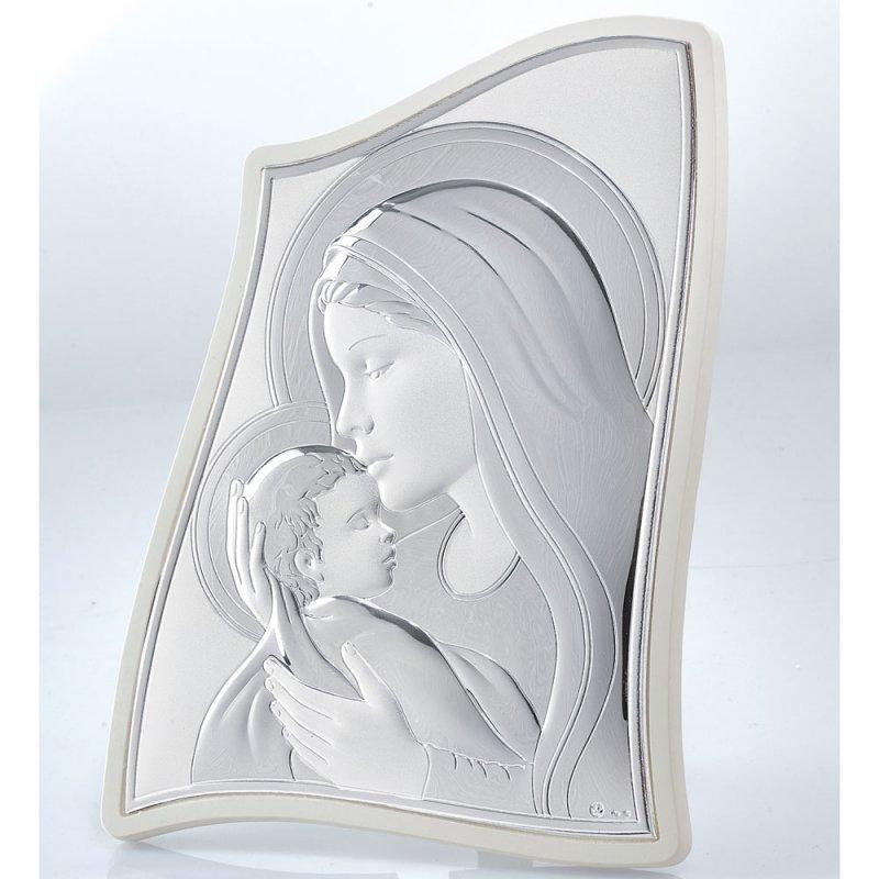 Εικόνα Μοντέρνα Παναγία-Χριστός Μπεζ Πλάτη Ασήμι 20x28 - MA-E903-2WH-20X28
