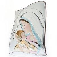 Εικόνα Μοντέρνα Παναγία-Χριστός Ασήμι Λευκή Πλάτη 15x21