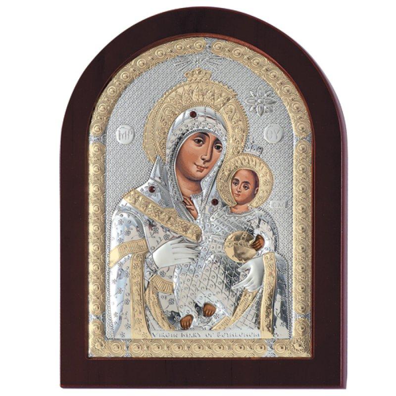 Εικόνα H Παναγία Η Βηθλεέμ 7,5x9,5 Aπό Ασήμι και Ξύλο - MAE1109EX