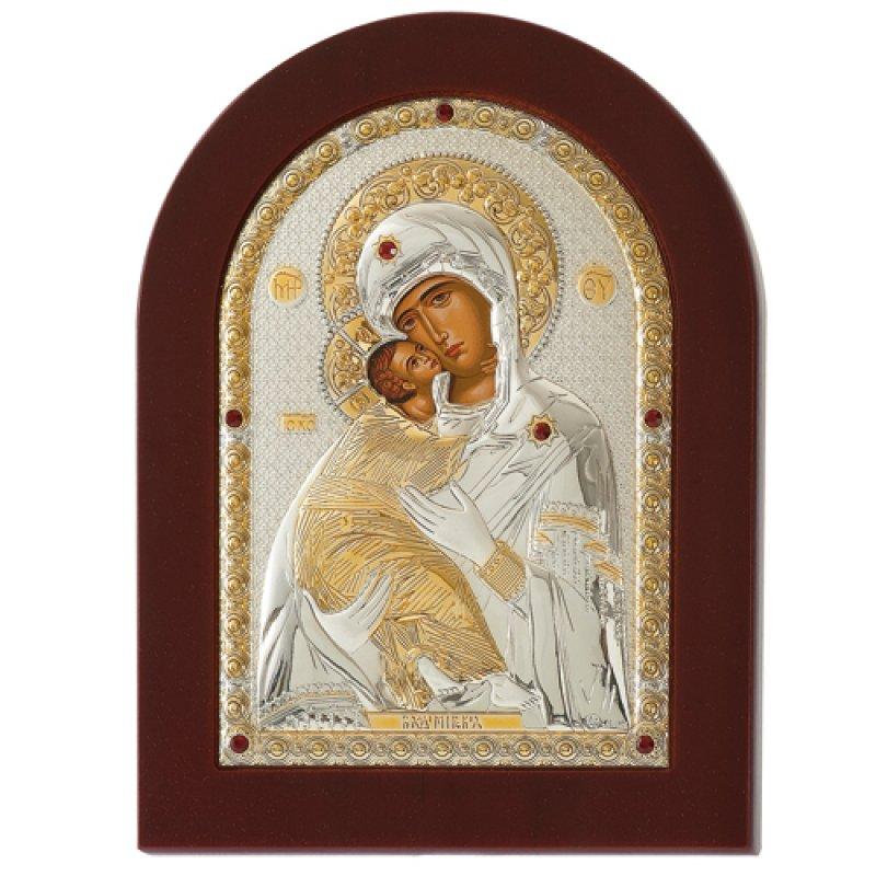 Εικόνα H Παναγία Η Βλαδιμήρ 15x21 Aπό Ασήμι και Ξύλο - MAE1110BX
