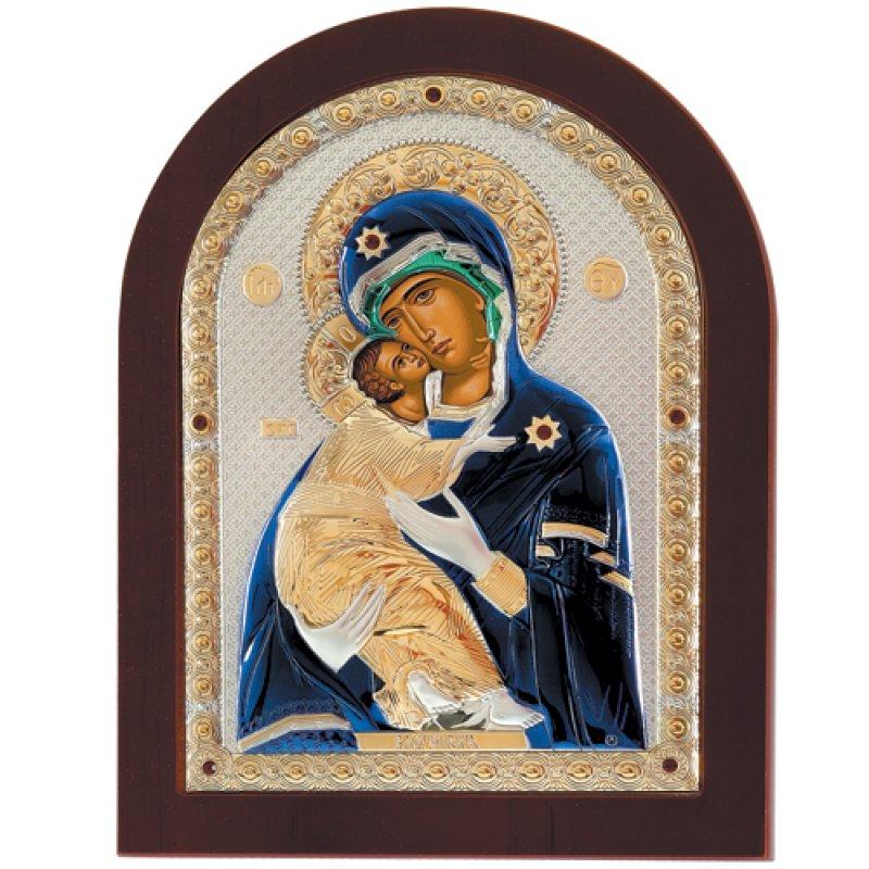 Εικόνα H Παναγία Η Βλαδιμήρ 10x14 Aπό Ασήμι και Ξύλο - MAE1110DX-C