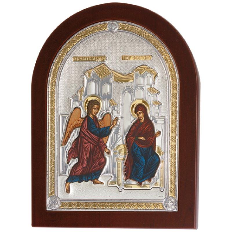Εικόνα Ο Ευαγγελισμός 20x26 Aπό Ασήμι και Ξύλο - MAE1118AX