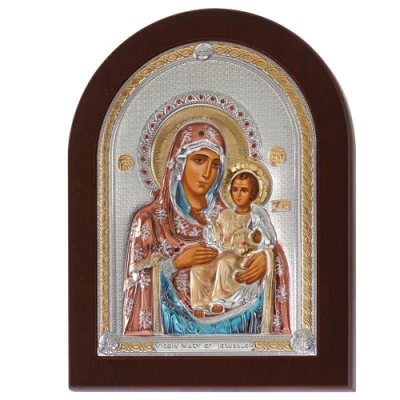 Eικόνα H Παναγία Η Ιεροσολυμίτισσα 18x24 Aπό Ασήμι και Ξύλο - MAE1502MX-C