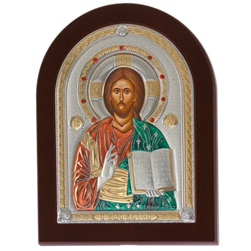 Eικόνα O Xριστός 18x24 Aπό Ασήμι και Ξύλο - MAE1507MX-C