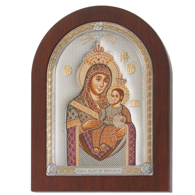 Eικόνα H Παναγία Η Βηθλεέμ 11x15 Aπό Ασήμι και Ξύλο - MAE1609SX