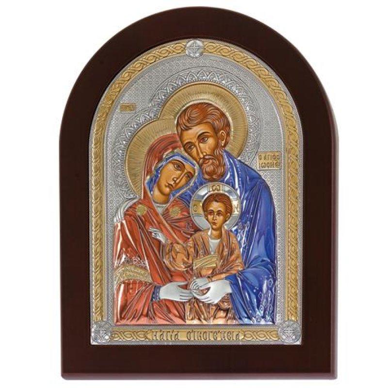 Eικόνα H Αγία Οικογένεια 11x15 Aπό Ασήμι και Ξύλο - MAE1505SX