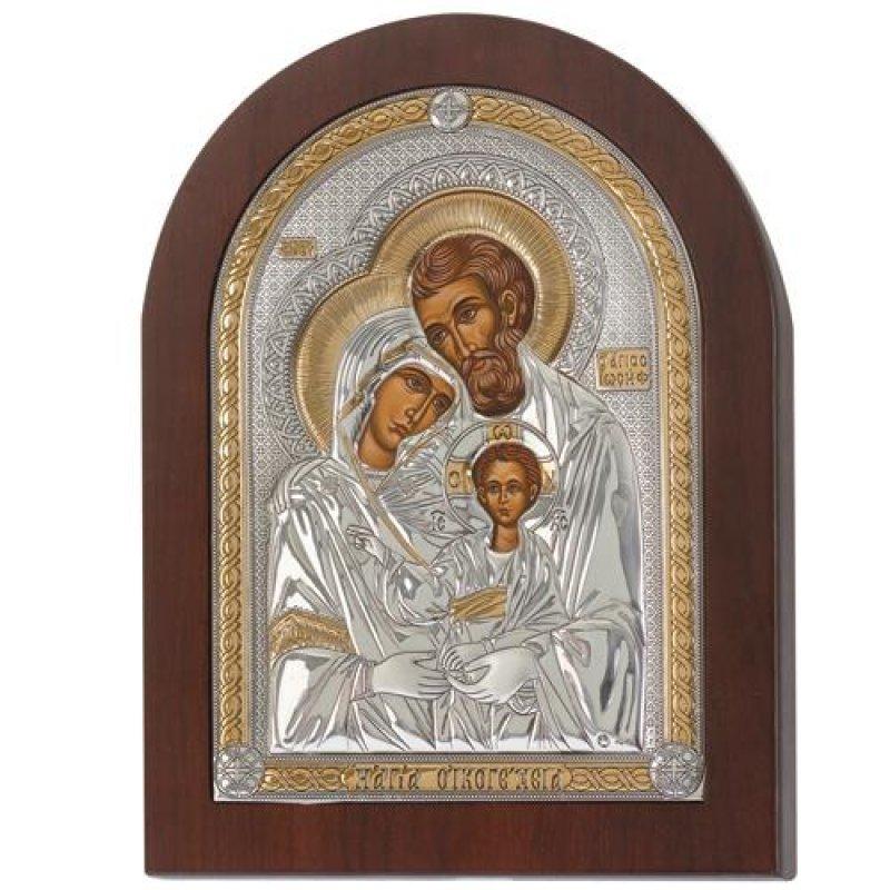 Eικόνα H Αγία Οικογένεια 9,5x12 Aπό Ασήμι και Ξύλο - MAE1505XSX