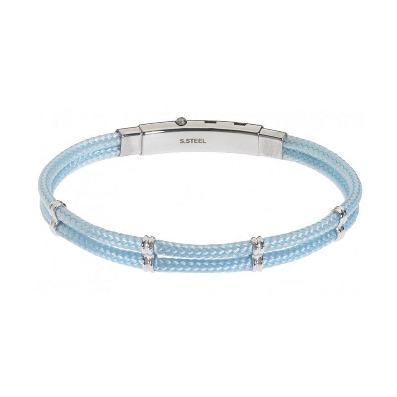 Βραχιόλι Ανδρικό ROSSO AMANTE Light Blue Leather Stainless Steel - UBR04AZ
