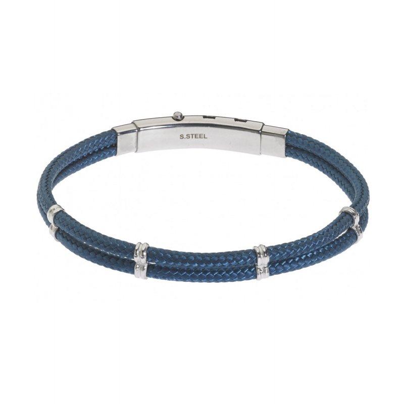 Βραχιόλι Ανδρικό ROSSO AMANTE Blue Leather Stainless Steel - UBR04BL