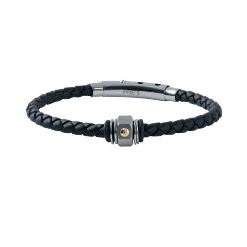 Βραχιόλι Ανδρικό ROSSO AMANTE Black Leather Stainless Steel - UBR218NM