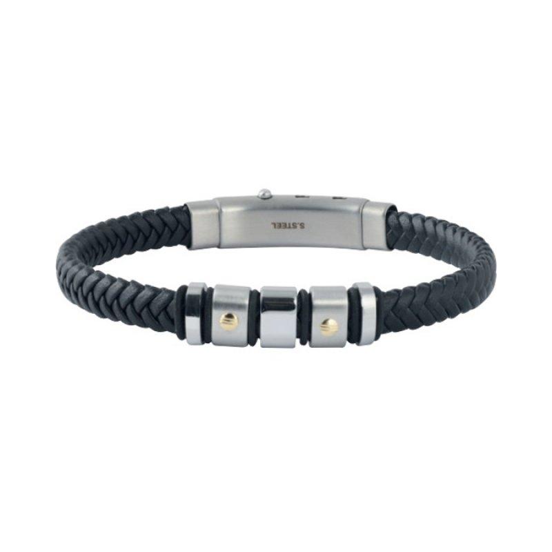 Βραχιόλι Ανδρικό ROSSO AMANTE Black Leather Stainless Steel - UBR235NM
