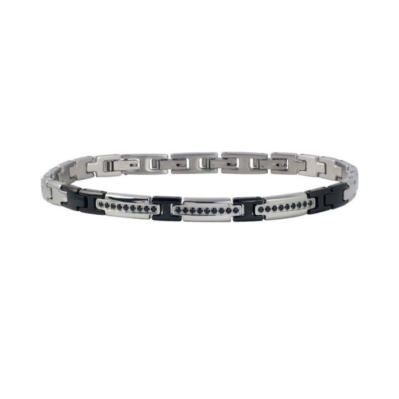Βραχιόλι Ανδρικό ROSSO AMANTE Black Spinels Stainless Steel - UBR419OR
