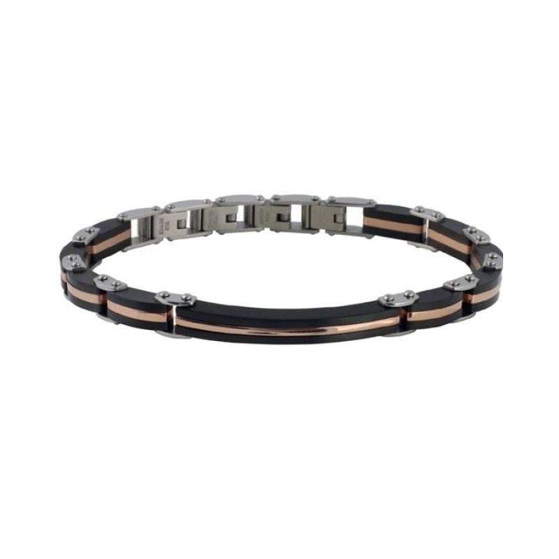 Βραχιόλι Ανδρικό ROSSO AMANTE Black Spinels Stainless Steel - UBR455PQ