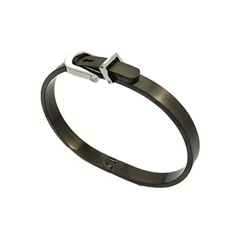 """Χειροπέδα """"Ζώνη"""" Senza Black and Silver από Ατσάλι - SSD06739"""