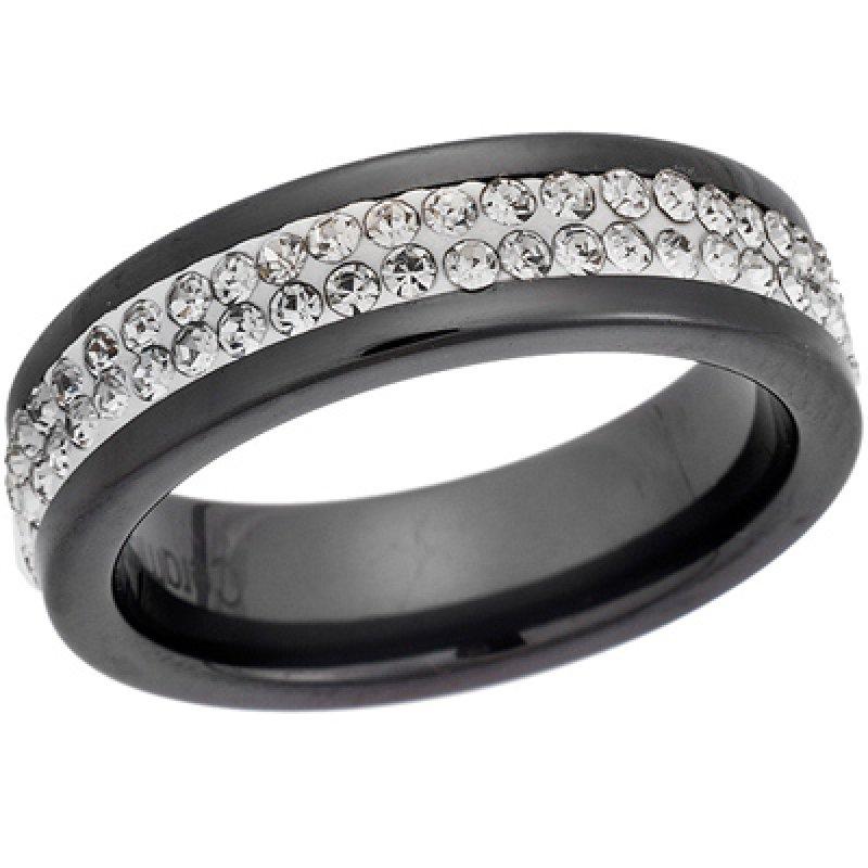 Δαχτυλίδι Μαύρο Με Πέτρες SENZA Ceramic Steel - SSD1495BK