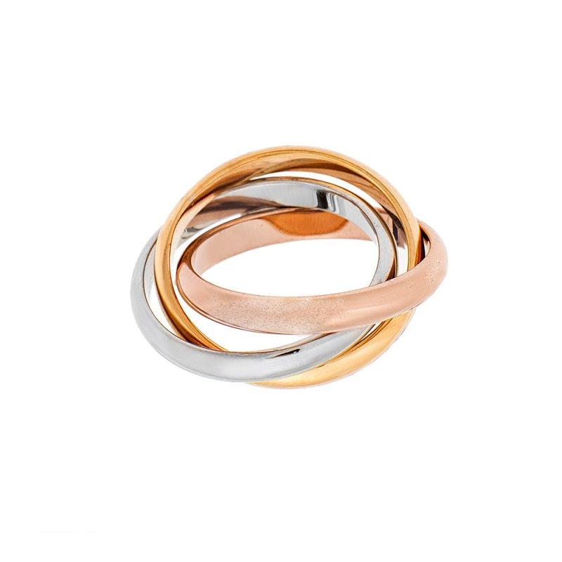 Δαχτυλίδι Τρίβερο RoseGold-Ασημί-Χρυσό SENZA Steel - SSD1505