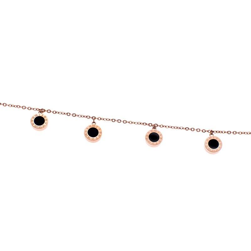 Βραχιόλι Αλυσίδα Rose Gold Με Κρεμαστούς Μαύρους Κύκλους SENZA Stainless Steel - SSD1916
