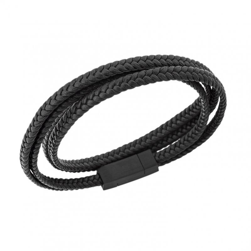 Βραχιόλι Senza Men's Steel Leather Strap - SSD3368BN