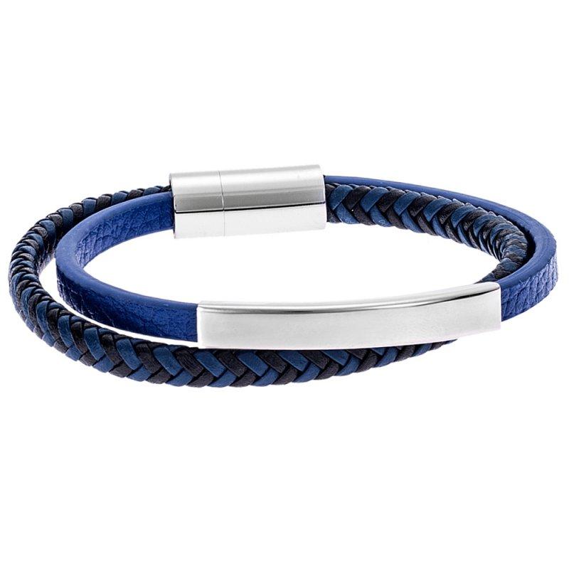 Βραχιόλι Senza Men's Steel Leather Strap - SSD3675BL