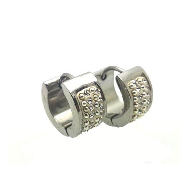 Σκουλαρίκια Senza Steel Silver White Crystals - SSD39909