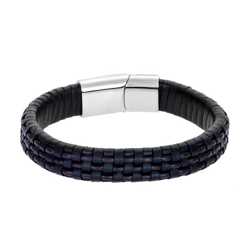 Βραχιόλι Senza Men's Steel Leather Strap - SSD4245BKBN