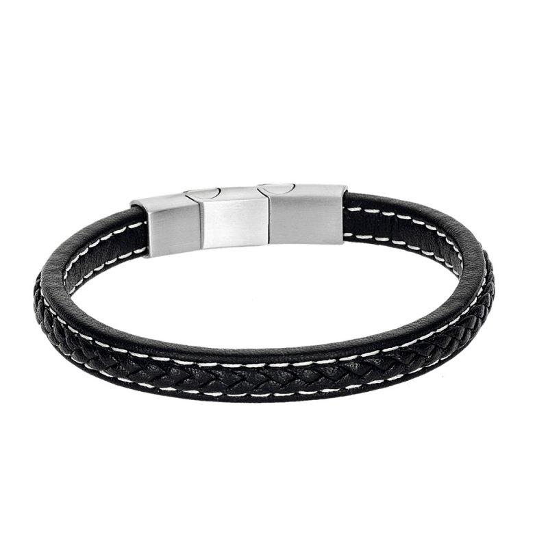 Βραχιόλι Senza Men's Steel Leather Strap - SSD4258BK