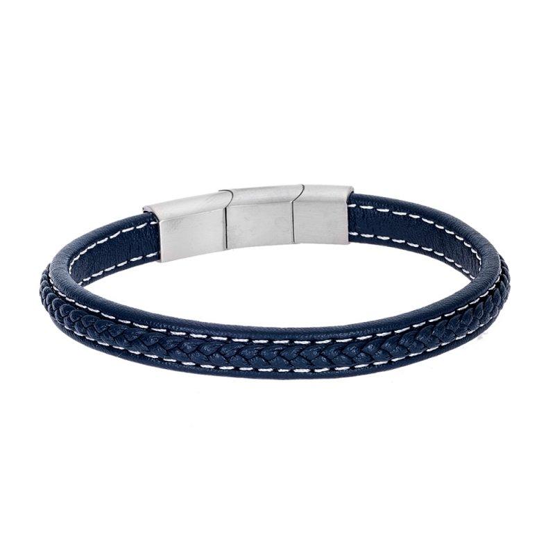 Βραχιόλι Senza Men's Steel Leather Strap - SSD4258BL