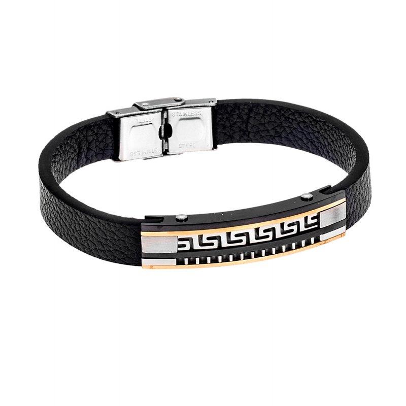 Βραχιόλι Senza Men's Steel Leather Strap - SSD4264GB