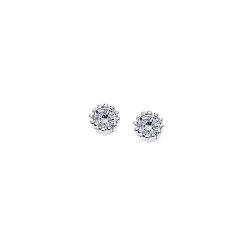 Σκουλαρίκια Γυναικεία SENZA απο ασήμι 925, με λευκό ζιργκόν - SSR1394-1