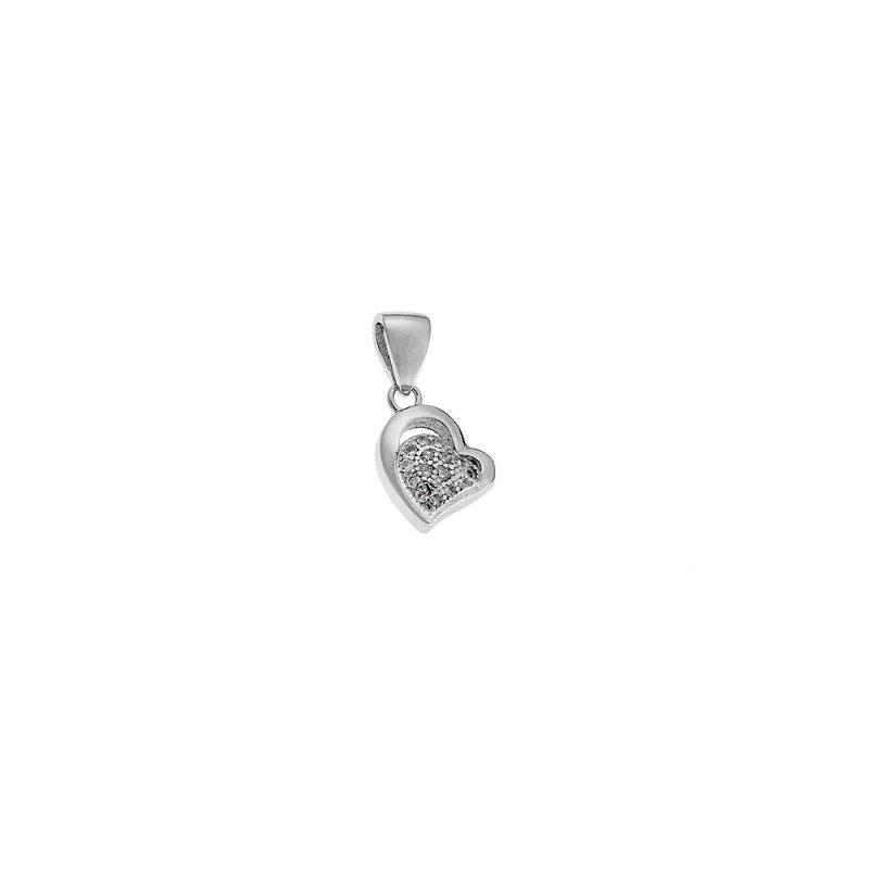 Μοτίφ SENZA ασήμι 925 καρδιά με λευκά ζιργκόν - SSR1460
