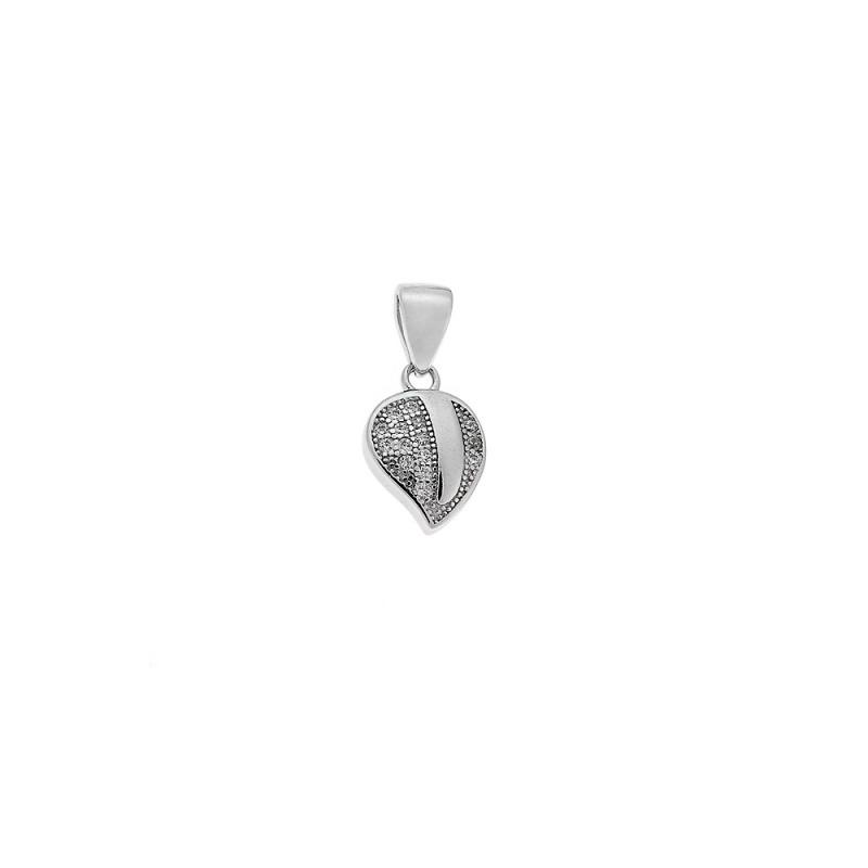 Μοτίφ SENZA ασήμι 925, φύλλο με λευκά ζιργκόν - SSR1483