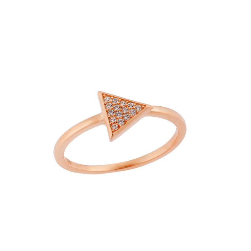 Δαχτυλίδι SΕΝΖΑ ροζ επιχρυσωμένο ασήμι 925, τρίγωνο με λευκά ζιργκόν - SSR1641RG