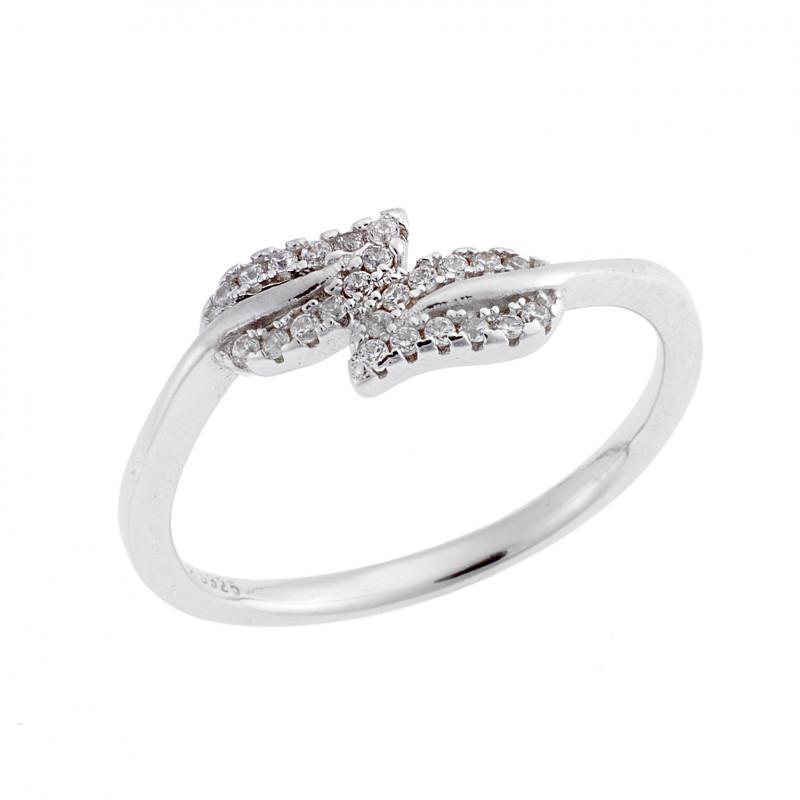 Δαχτυλίδι SΕΝΖΑ ασήμι 925, φύλλα με λευκά ζιργκόν - SSR1644
