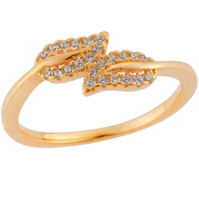 Δαχτυλίδι SΕΝΖΑ κίτρινο επιχρυσωμένο ασήμι 925, φύλλα με λευκά ζιργκόν - SSR1644GD