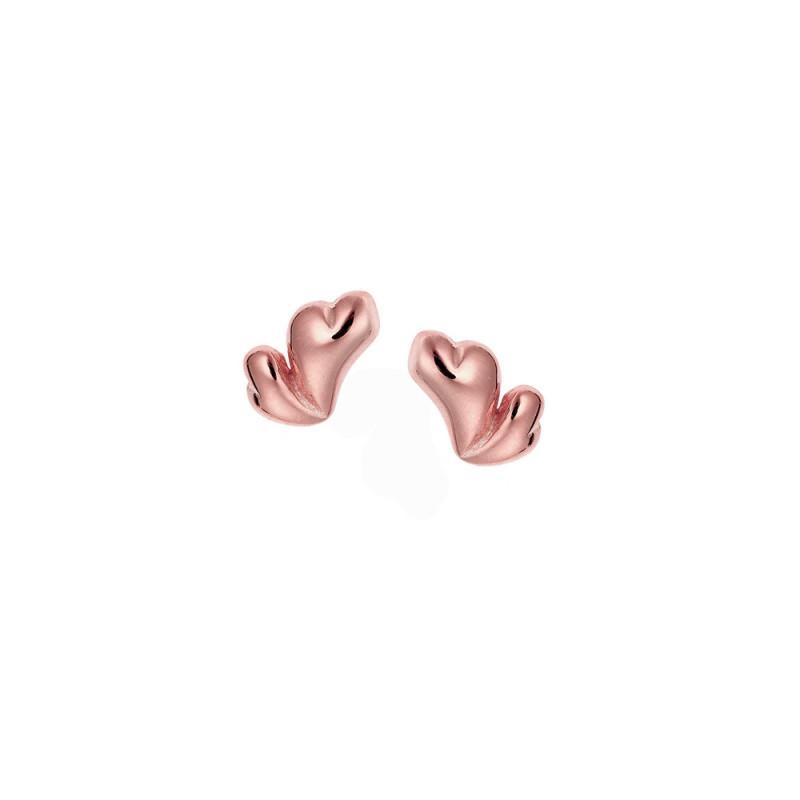 Σκουλαρίκια SENZA ροζ επιχρυσωμένο ασήμι 925, διπλή καρδιά - SSR1715RG