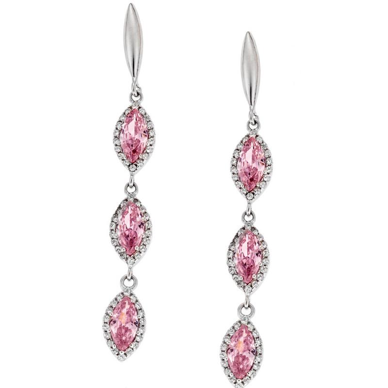 Σκουλαρίκια SENZA ασήμι 925 με λευκά και ροζ ζιργκόν - SSR1752PK