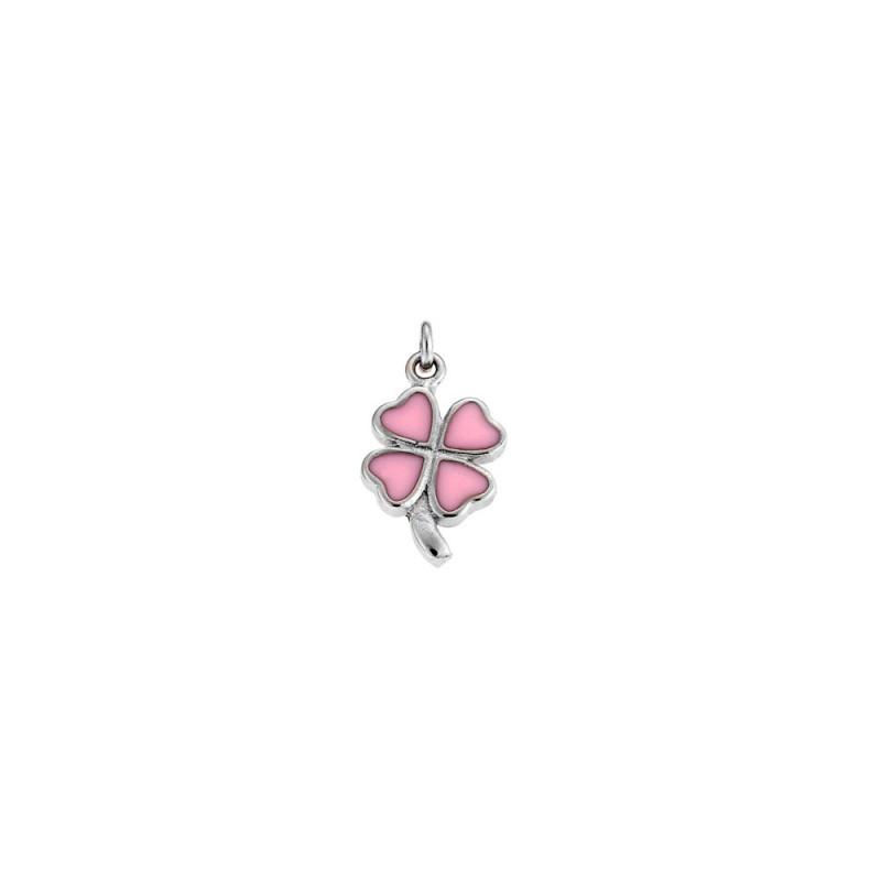 Μενταγιόν παιδικό SENZA ασήμι 925, τριφύλλι με ροζ σμάλτο - SSR1855
