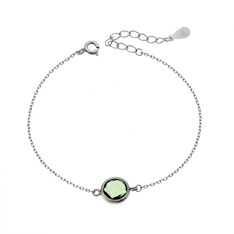 Βραχιόλι SENZA ασήμι 925 με πράσινη κρυστάλλινη πέτρα - SSR2116GN