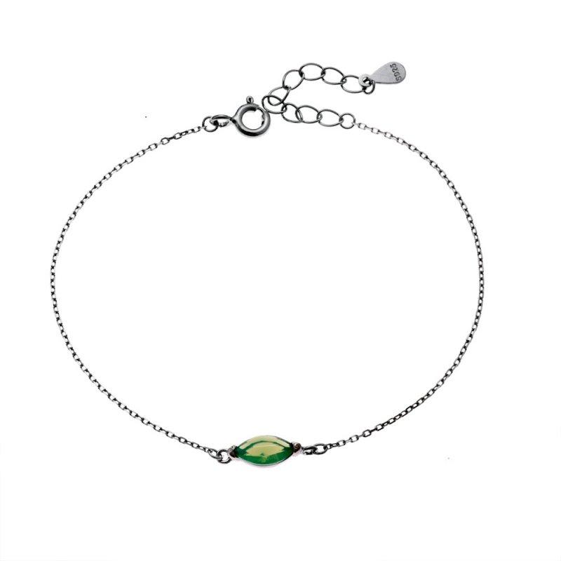 Βραχιόλι SENZA ασήμι 925 με πράσινη κρυστάλλινη πέτρα - SSR2119GN