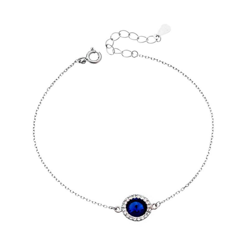 Βραχιόλι SENZA ασήμι 925 με μπλε κρυστάλλινη πέτρα και λευκά ζιργκόν - SSR2131BE