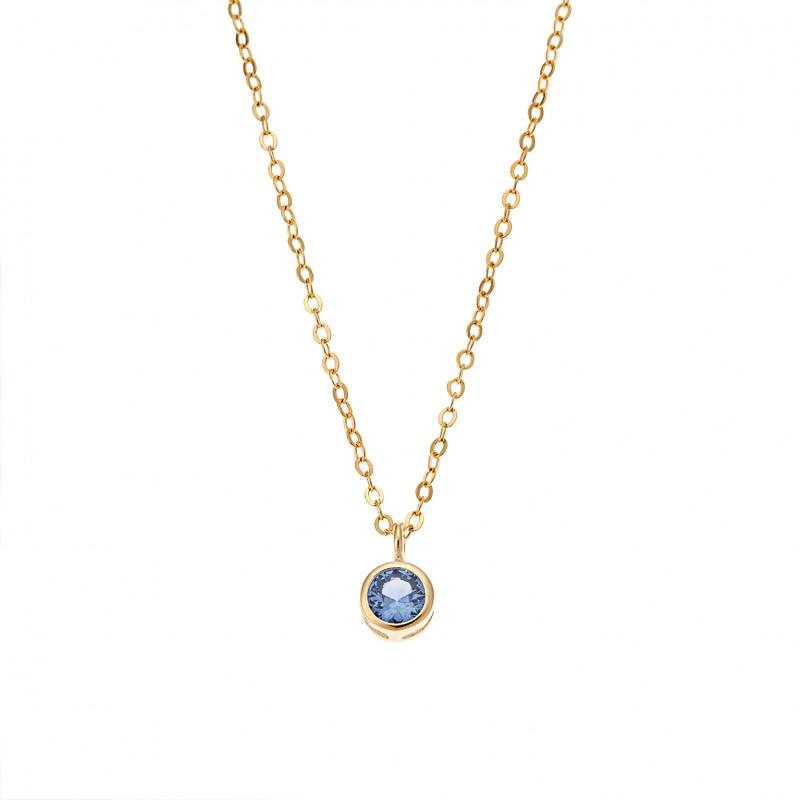 Κολιέ SENZA κίτρινο επιχρυσωμένο ασήμι 925, μονόπετρο με μπλε ζιργκόν - SSR2241GLB