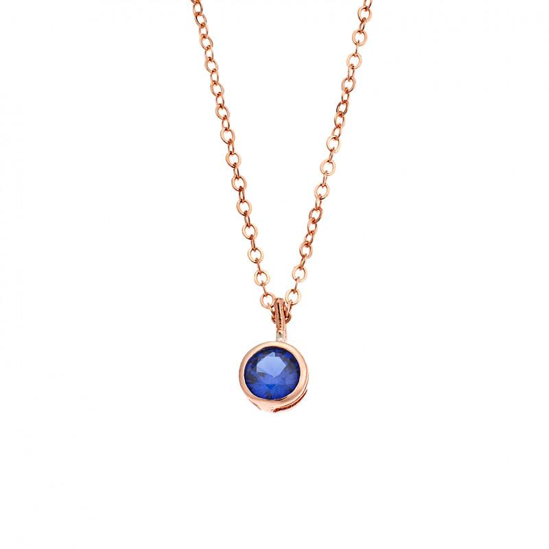 Κολιέ SENZA ροζ επιχρυσωμένο ασήμι 925, μονόπετρο με μπλε ζιργκόν - SSR2241RBL